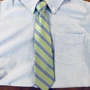 Boy's silk adjustable zip tie green blue stripe